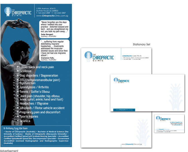 Chiropractic Clinic - Ad & Stationary Set Design